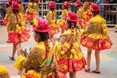 ORURO, BOLIVIA - FEBRUARY 10, 2018: Dancers at Oruro Carnival in. Bolivia, declared UNESCO Cultural World Heritag on February 10, 2018 in Oruro, Bolivia royalty free stock photos