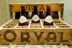 Orval, Belgien - 8. Mai 2015: Orval-Trappist-Bier Stockbild