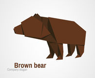 Orvhami logo with brown bear. Origami logo with a brown bear. Vector illustration Stock Photo