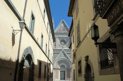 Orvieto cathedral. In Umbria from a narrow street Stock Photos