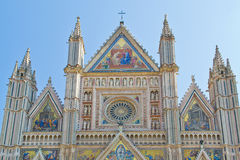Orvieto cathedral. The upper part of the cathedral in Orvieto (Italy).The artistic details are impressive Royalty Free Stock Photo