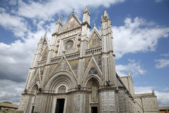 Orvieto Cathedral. One of the most beautiful italian cathedrals. Constructed 1290 - 1600 a. c. and richly decorated with lots of stone mosaics and reliefs as Royalty Free Stock Photography