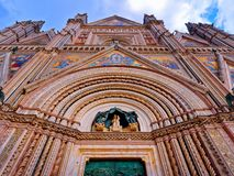 Orvieto Cathedral Facade Front Exterior view closeup. Orvieto Cathedral Facade Front Exterior view close up royalty free stock photos