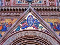 Orvieto Cathedral Facade Front Exterior view closeup. Orvieto Cathedral Facade Front Exterior view close up stock photo
