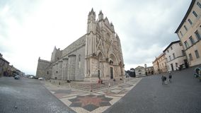 Orvieto Cathedral, town, building, medieval architecture, sky. Orvieto Cathedral is town, sky and town square. That marvel has building, cathedral and church and Stock Photos