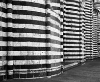 Orvieto Cathedral Walls. A nearly abstract view of the exterior walls of the classic cathedral in Orvieto in Umbria. (Scanned from black and white film Stock Image
