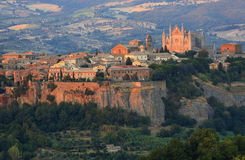 Orvieto Duomo, Umbria, Italy. Landscape view of part of the medieval town of Orvieto, showing the famous Duomo royalty free stock image