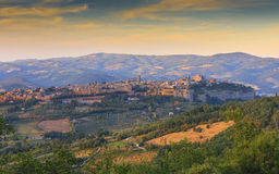Orvieto Duomo, Umbria, Italy. Landscape view of the medieval town of Orvieto, showing the famous Duomo stock photo