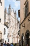 Orvieto. Italy-april 28,2018:Tourists visit the city of  and its cathedral during a sunny day Stock Image