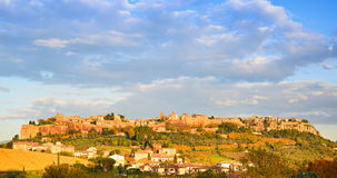 Orvieto medieval town and Duomo cathedral church aerial view. It Stock Photos