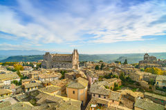 Orvieto medieval town and Duomo cathedral church aerial view. It Royalty Free Stock Photo