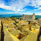 Orvieto medieval town and Duomo cathedral church aerial view. It Stock Images