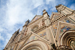 Orvieto's Dome Facade against a cloudy sky Royalty Free Stock Photo