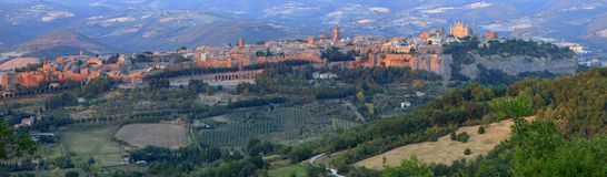 Orvieto, Umbria, Italy. Landscape view the medieval town of Orvieto in pale evening sunlight Stock Images