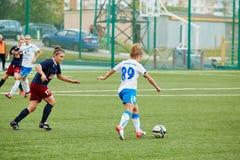 Orward of CSP Izmailovo in attack against team Mordovochka Royalty Free Stock Photo