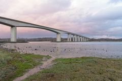 Orwell Bridge near Ipswich with sky royalty free stock photography