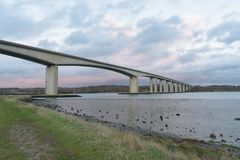 Orwell Bridge in Suffolk with path and sky stock photo