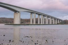Orwell Bridge in Suffolk with reflections in river stock images