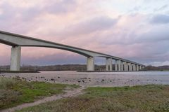 Orwell Bridge in Suffolk with sky stock photos