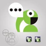 Oryginał opowiada papuzie logo ikony komunikaci wiadomości Zdjęcie Stock