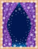 Orygina? rama dla fotografii i teksta Widok pokój od okno Openwork płatek śniegu na błękitnym tle tworzą świątecznego ilustracji