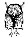 Oryginalna grafika sowa, atrament ręki rysunek wewnątrz Obrazy Royalty Free