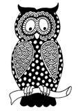 Oryginalna grafika sowa, atrament ręki rysunek wewnątrz Zdjęcia Royalty Free
