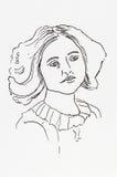 Oryginalnego atramentu kreskowy rysunek Portret Edwardian młoda dama Zdjęcie Stock
