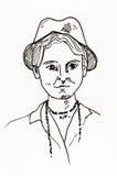 Oryginalnego atramentu kreskowy rysunek Portret 1920's kobieta Obrazy Royalty Free