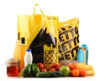 Oryginalni Netto plastikowi torba na zakupy, produkty i Obrazy Royalty Free