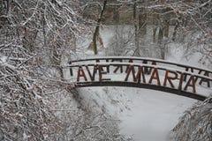 Oryginalny śnieżysty most w miasto parku Zdjęcia Stock