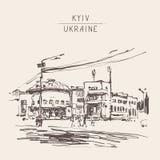 Oryginalny czarny i biały cyfrowy nakreślenie Kyiv, Ukraina miasteczka los angeles Obraz Stock