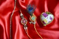 Oryginalny handmade rakhi na jedwabniczym płótnie zdjęcia royalty free