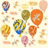 Oryginalny kolorowy tło z balonami, chmury royalty ilustracja