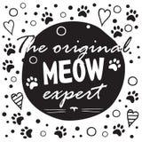Oryginalny meow ekspert Czarny i biały układ z zabawa zwrotem, serce kształtami i kotem, Obrazy Stock