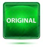 Oryginalny Neonowy Jasnozielony Kwadratowy guzik royalty ilustracja