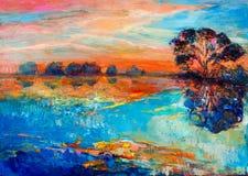 Jezioro i drzewo royalty ilustracja