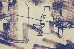 Oryginalny rysunek Abstrakcjonistyczne grafika z stołem, butelki, szkła, talerze Obrazy Stock