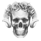 Oryginalny rysunek czaszka z różami i rogami ilustracji