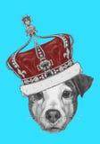 Oryginalny rysunek Jack Russell z koroną royalty ilustracja