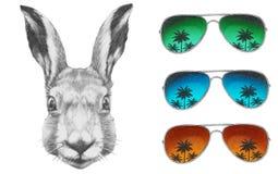 Oryginalny rysunek królik z lustrzanymi okularami przeciwsłonecznymi ilustracja wektor