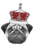 Oryginalny rysunek mopsa pies z koroną ilustracja wektor