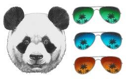 Oryginalny rysunek panda z lustrzanymi okularami przeciwsłonecznymi ilustracji