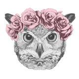 Oryginalny rysunek sowa z kwiecistym kierowniczym wiankiem Zdjęcie Royalty Free