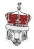 Oryginalny rysunek tygrys z koroną ilustracji