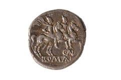 Oryginalny rzymski menniczy srebro, Denarius, odizolowywający Obrazy Royalty Free