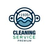 Oryginalny wektorowy loga projekt dla czyści firmy z round drzwi pralka lub usługa Liniowy symbol z błękitem ilustracja wektor