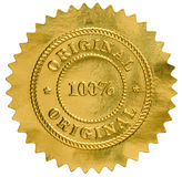 Oryginalny złotej foki znaczek Obraz Royalty Free