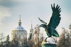 ORYOL, RUSSIA - JANUARY 12, 2018: Bronze sculpture of an eagle installed on the Alexander Bridge after its reconstruction royalty free stock photo
