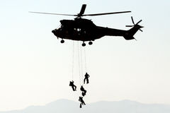 Oryx Helicopter & Soldiers Silhouette Stock Photo